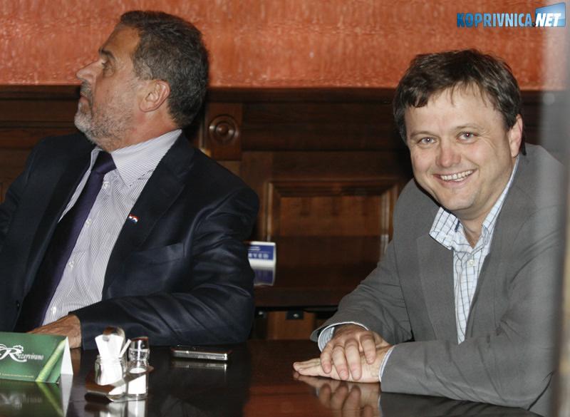 Koprivnički gradonačelnik Zvonimir Mršić ugostio je Milana Bandića. Snimio: Marijan Sušenj