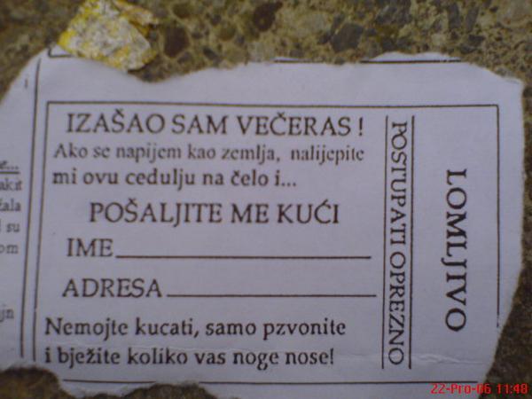 Ovo bi trebalo dijeliti na ulazu u Kuglanu  Izvor: forum.hr