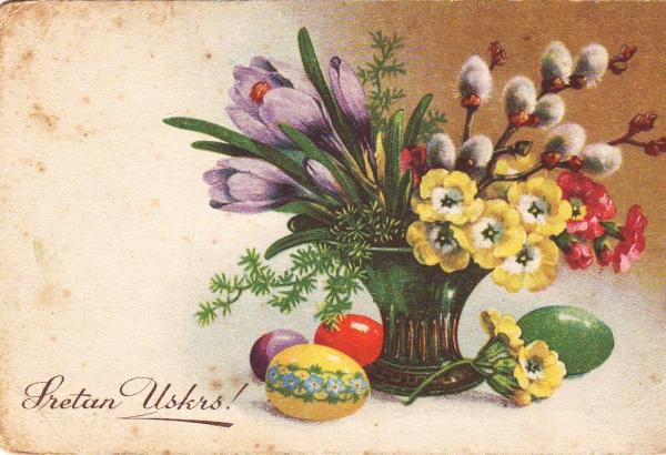 Uskrs // Ova je razglednica prazna, ali ostala je sačuvana i može se vremenski smjestiti između dva svjetska rata