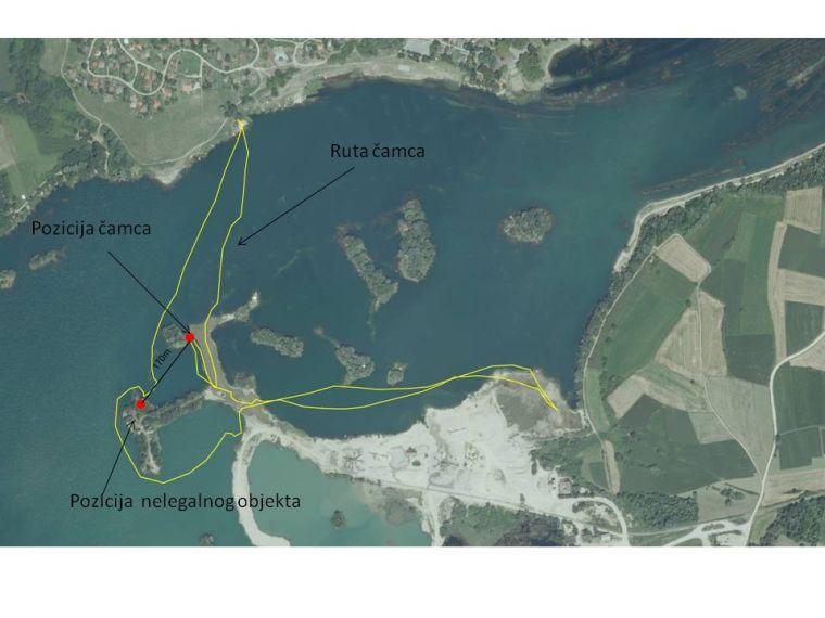 Skica rute kojom je išao čamac i mjesto gdje je Šafarek doživio napad