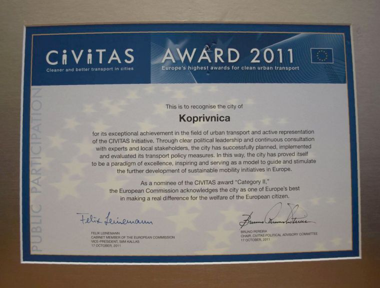 CIVITAS priznanje koje je dodijeljeno Koprivnici