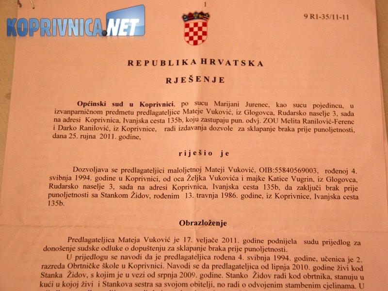 Dozvola za stupanje u brak prije punoljetnosti // foto: Ivan Brkić