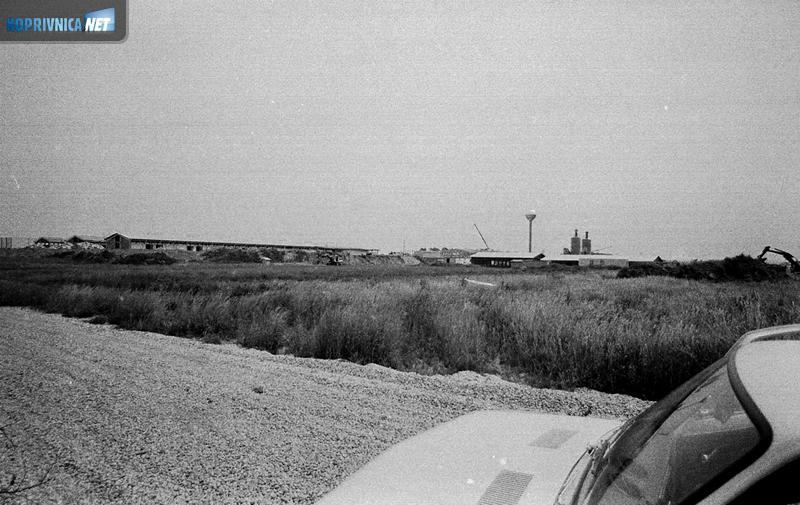Pogled na farmu Delovi s pošljunčanog puta u lipnju 1982. godine
