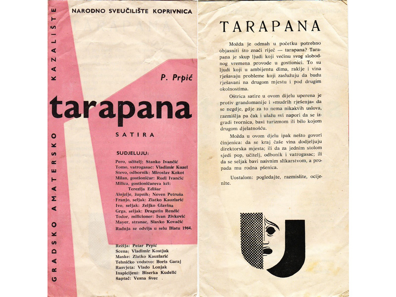 Plakat premijere Tarapane 10. listopada 1964. godine // Prolog predstavi