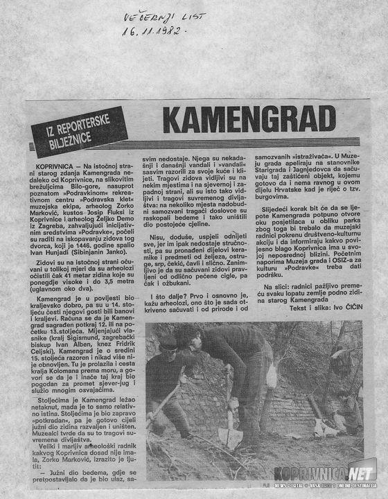 Kamengrad, Vecernji 11-1982.