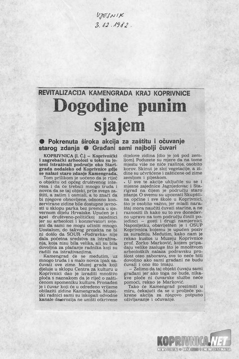 Kamengrad, Vjesnik 12-1982.