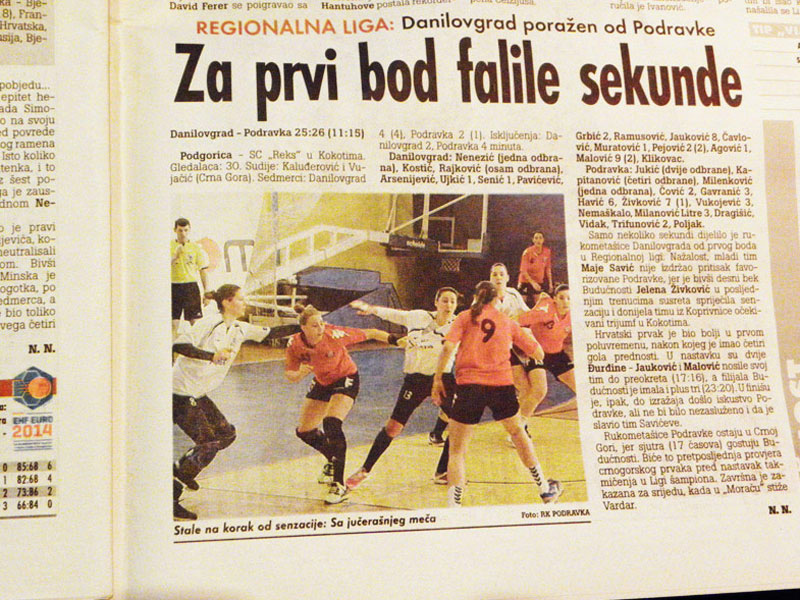 Faksimil iz nezavisnog dnevnika Vijesti // Foto: RK Podravka - Ivo Čičin-Mašansker