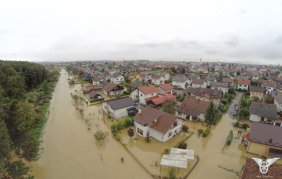 Poplava u Herucovoj ulici u Križevcima // Foto: Facebook - Oko sokolovo