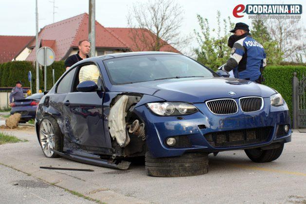 Prometna nesreća - križanje Miroslava Krleže i Ivana Sabolića Koprivnica // S mjesta nesreće // Foto: Ivan Brkić