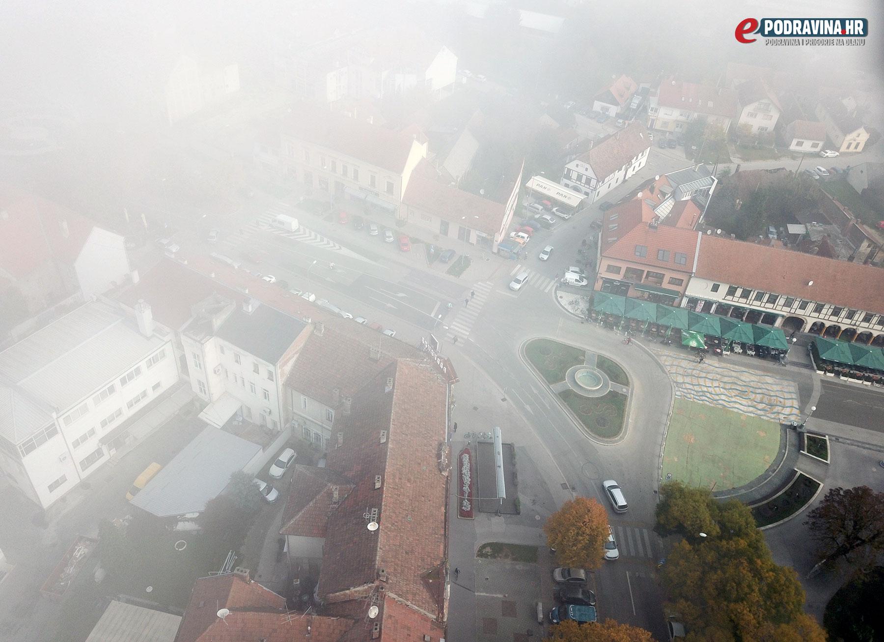 Magla iznad Koprivnice iz zraka