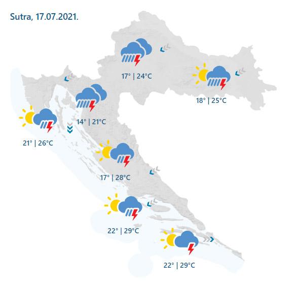 Prognoza vremena za subotu, 17. srpnja